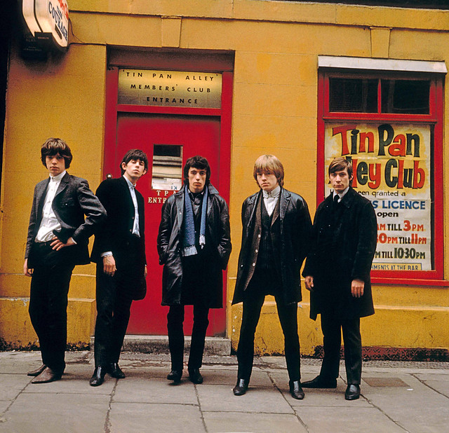 The Rolling Stones at 7 Denmark Street, London WC2H 8LZ , by Terry O'Neill [1963]