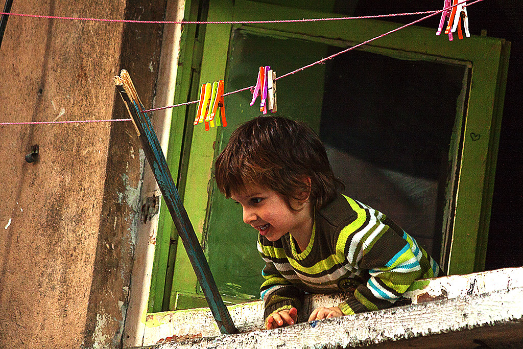 Kid in window--Istanbul
