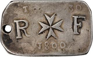 MALTA. 30 Tari Siege Ingot, 1800