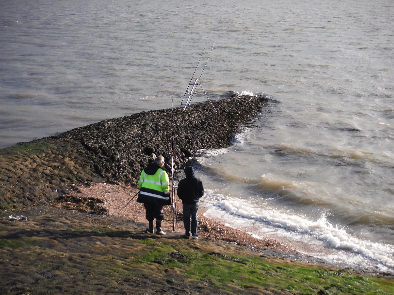 Fishing For Fresh Fish (cod & whiting apparently), SE corner of Canvey Island SWC Walk 258 Benfleet Circular (via Canvey Island)