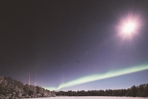 Aurora borealis and the moon