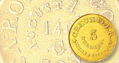 1834-c-bechtler 5 dollar coin