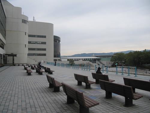 京都競馬場のパドックを見下ろせるテラス
