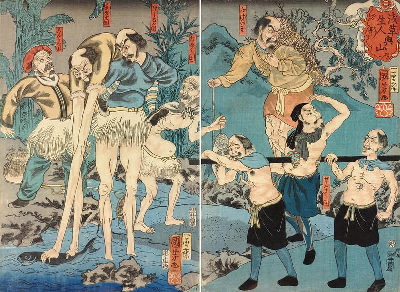 Utagawa Kuniyoshi - Living Dolls of Asakusa's Okuyama, 1855