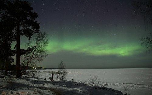 Aurora over Ladoga lake