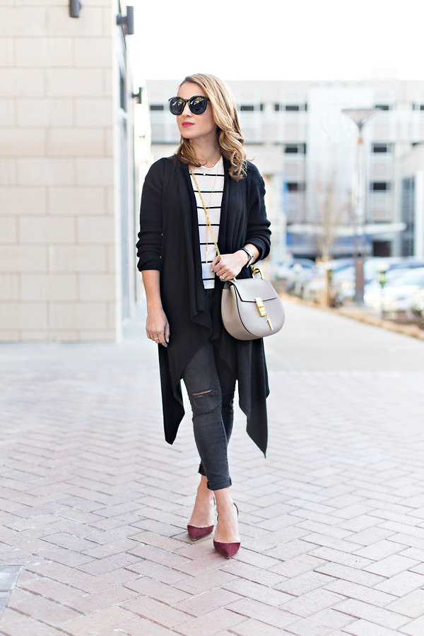 Long cardi + destroyed denim + Chloe Drew bag