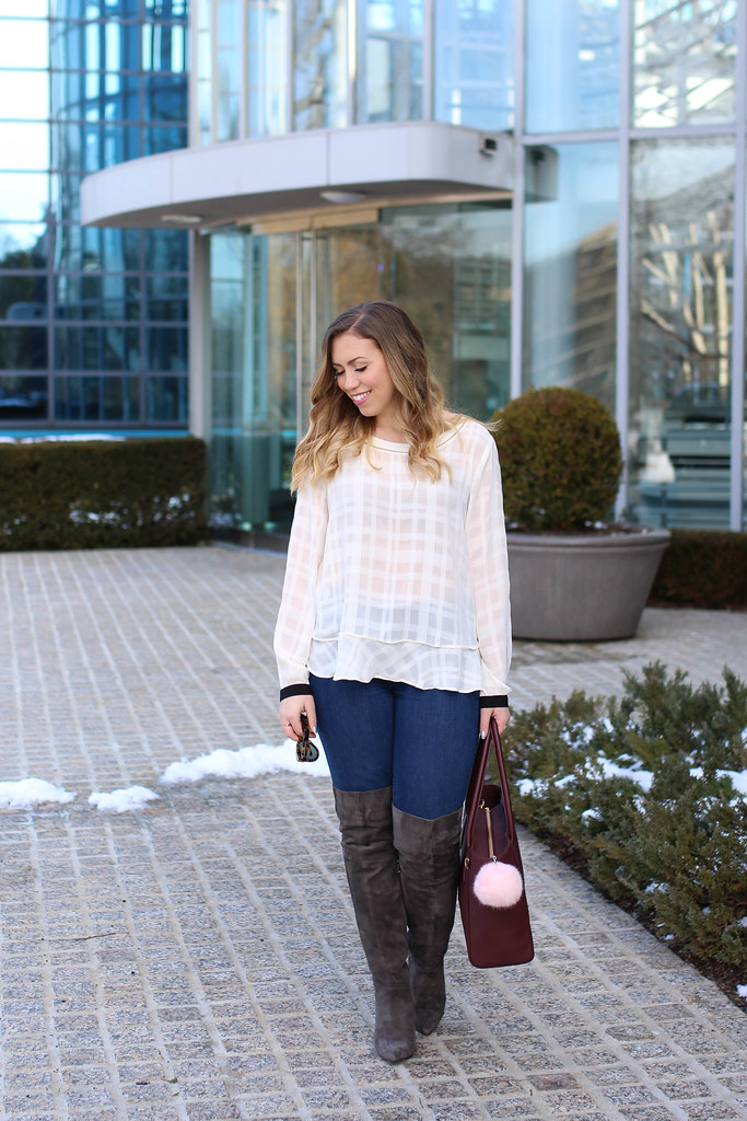 LOFT Sheer White Peplum Top | LOFT Skinny Jeans | Gray Suede OTK Boots | Dagne Dover Oxblood Work Tote | Spring Transistion Outfit