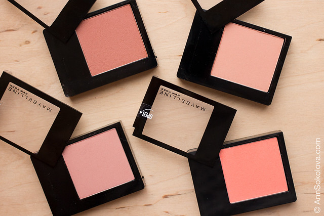 07 Maybelline Facestudio Blush 40 Pink Amber, 20 Brown, 30 Rosewood, 100 Peach Pop swatches