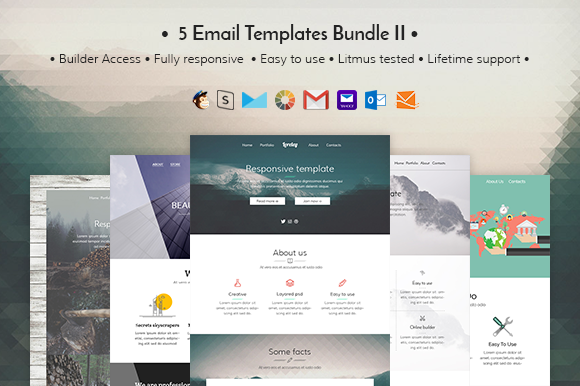 5 Email templates bundle II Creativemarket