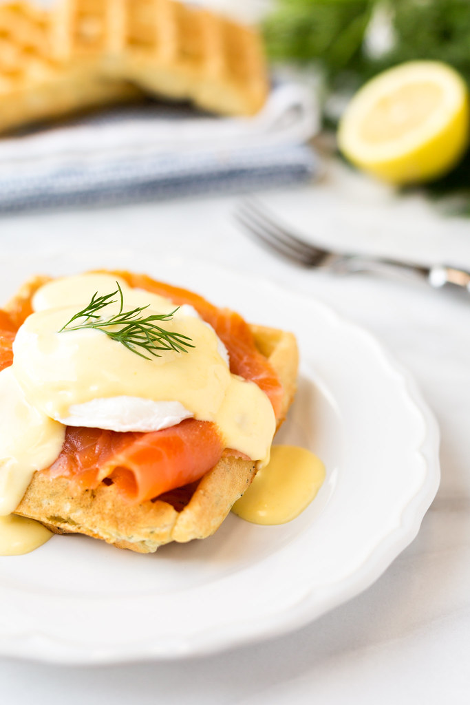 Smoked Salmon Eggs Benedict with Dill Waffles