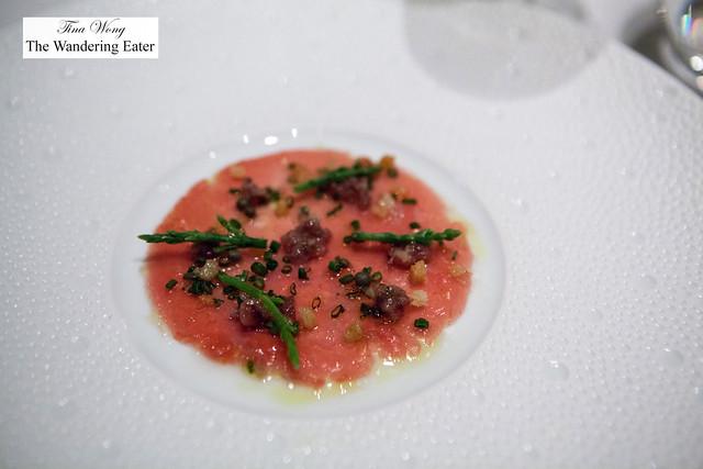"Tuna Carpaccio, Iberico Ham ""Chutney,"" Sea Beans, Lemon-Extra Virgin Olive Oil"