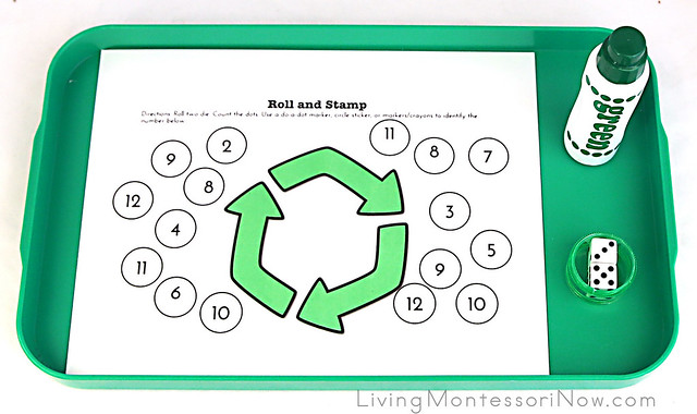 Roll and Stamp Recycling Addition Activity