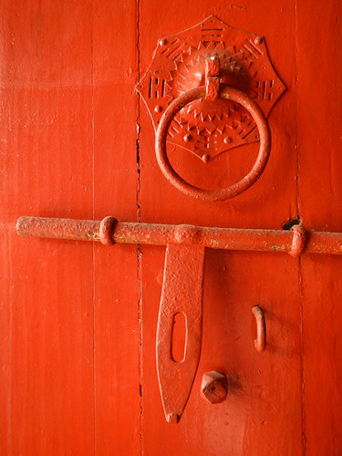 Red Door in a Chinese Temple in Penang, Malaysia