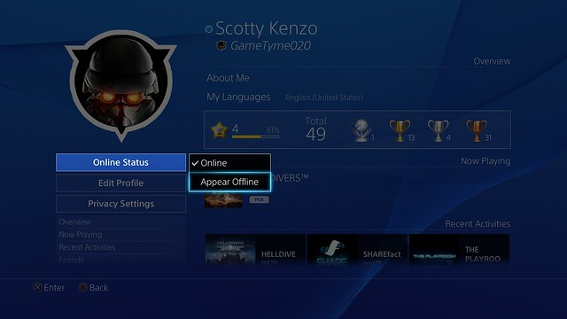 PS4 System Software 3.50 - Appear Offline