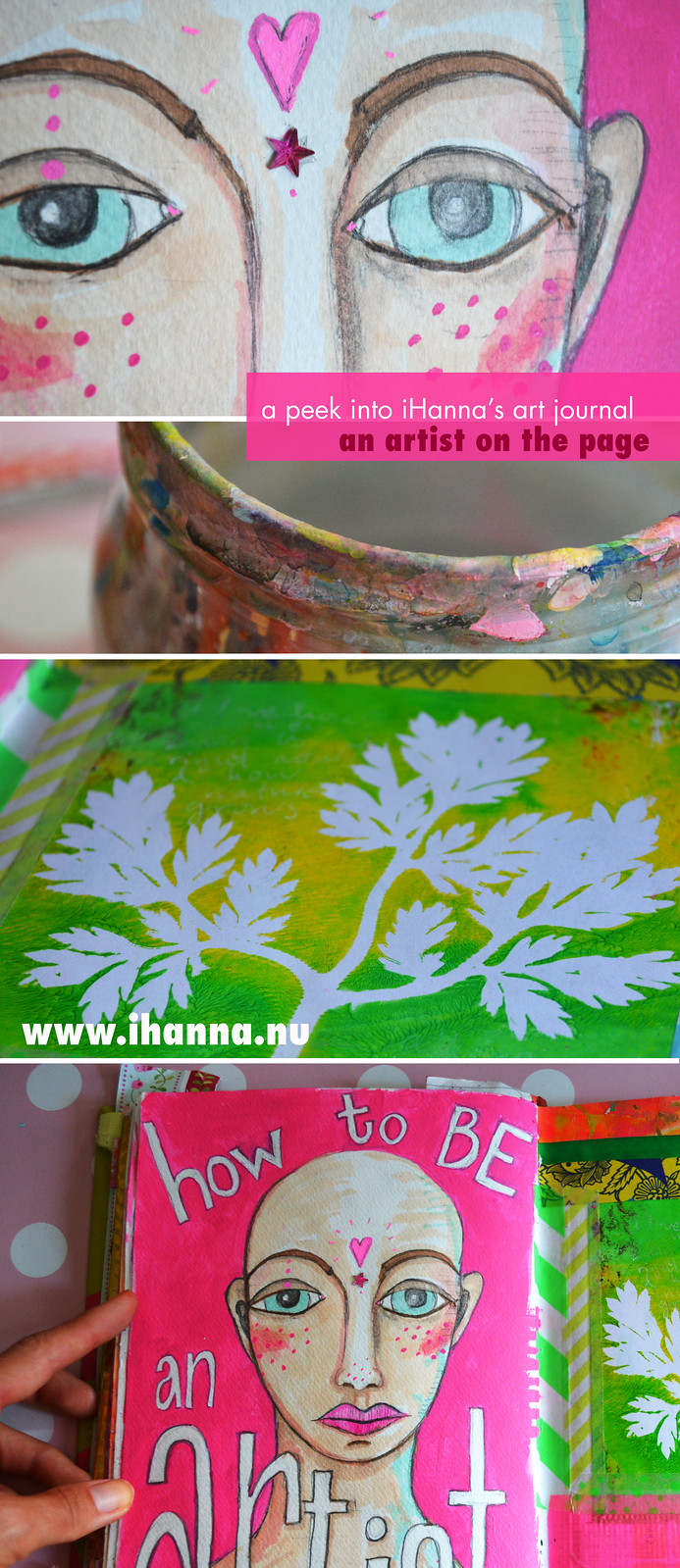 How to BE an artist on the page by showing up and making art, of course - more inspiration by @ihanna at www.ihanna.nu #artjournaling #mixedmedia
