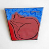 Vintage Hand-Painted Ceramic Brooch w/ Sleeping Cat