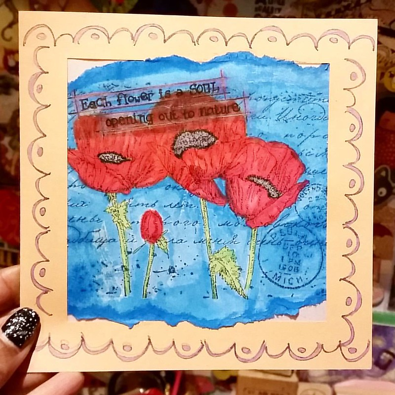 A card I made recently using Joy Crafts Poppies silhouette stamp. #joycrafts #poppies #notecard #handmade #rubberstamped #rubberstampart #cardmaking #promarkers #colorcoordination #poppyred