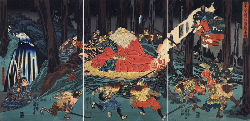 Utagawa Kuniyoshi - Sojobo, King of the Tengu, and Yoshitsune leaping in the air, 1847-52
