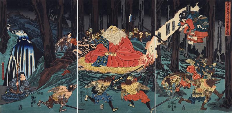 Utagawa Kuniyoshi - Sojobo, King of the Tengu, and Yoshitsune leaping in the air, 1847-52