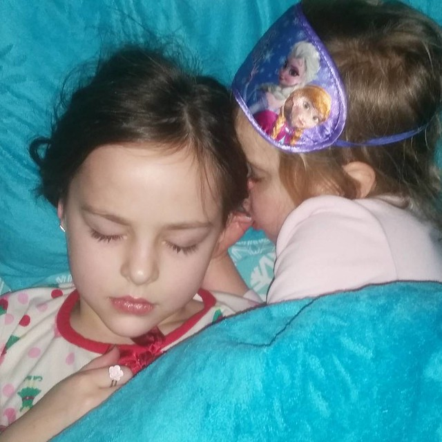 My girls! ❤ Lily recently started sleeping in Lexie's bed at night and she curls up against her. I'm not sure how either of them get any sleep, but it sure is sweet! #sisters