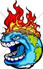 Burning Earth Cartoon Vector Illustration