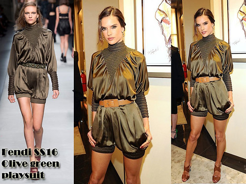 Fendi Olive green playsuit with brown sandals