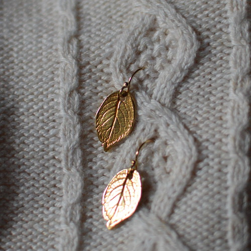 Treating Myself to Golden Leaf Earrings from J.K.W. Outlet on Etsy