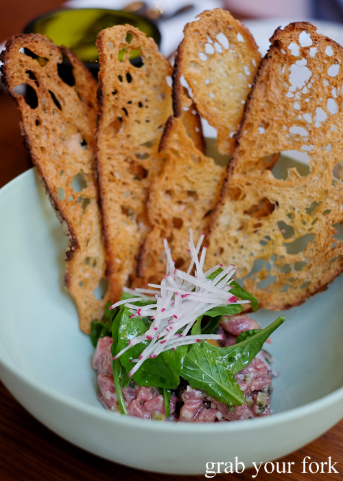 Grass fed veal tartare at Kensington Street Social in Chippendale