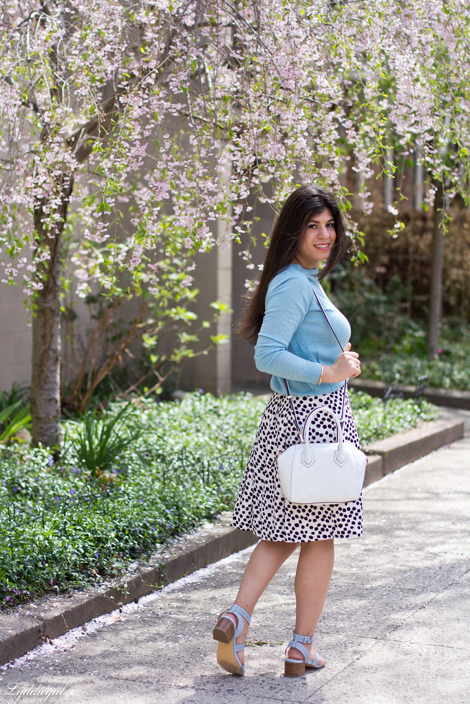 blue sweater, polka dot skirt, blue sandals-9.jpg