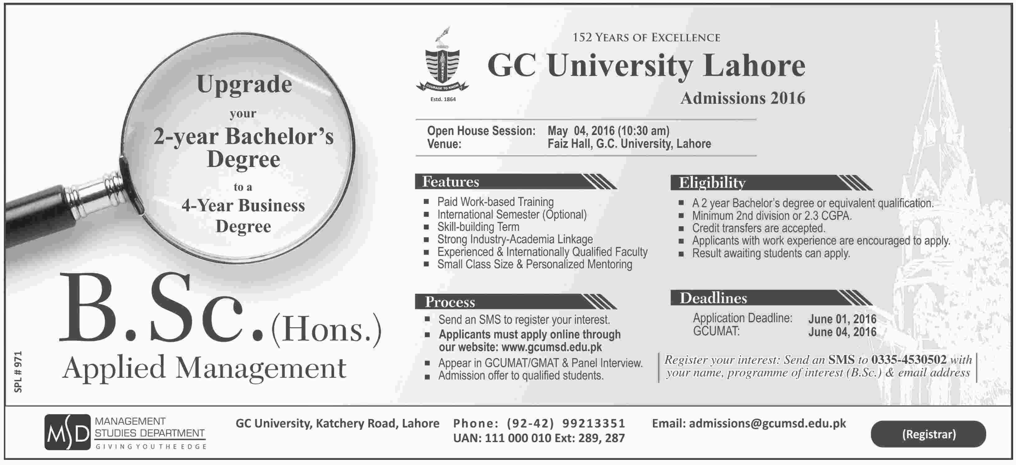Government College University Lahore Admissions 2016