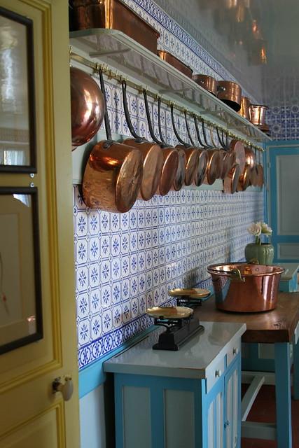 copper pots kitchen entrance