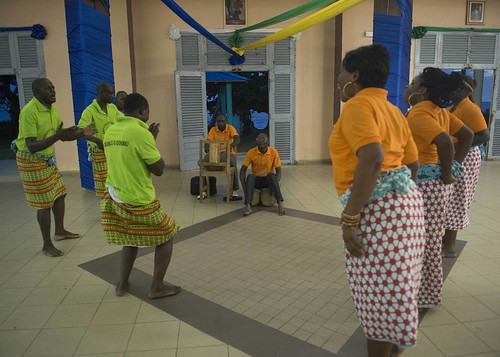 Thu, 04/14/2016 - 12:59 - 160414-N-WV703-645 LIBREVILLE, Gabon -  (April 14, 2016) The Ikoku Dance Group from southern Gabon preforms at the closing reception for host nation training and USNS Spearhead (T-EPF 1) port visit to Libreville, Gabon at the Mixed Mess of the Gabonese Defense Forces April 14, 2016. The Military Sealift Command expeditionary fast transport vessel USNS Spearhead is on a scheduled deployment to the U.S. 6th Fleet area of operations to support the international collaborative capacity-building program Africa Partnership Station. (U.S. Navy photo by Mass Communication Specialist 3rd Class Amy M. Ressler)