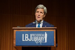 U.S. Secretary of State John Kerry delivers a speech about the past and future of the U.S.-Vietnam relationship while addressing the audience at the Vietnam War Summit held on April 27, 2016, at the LBJ Presidential Library at the University of Texas at Austin. [State Department photo/ Public Domain]