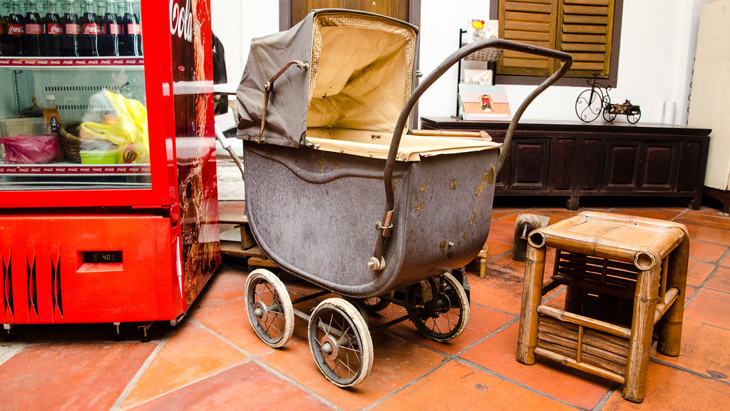 Ancient baby cart and chair