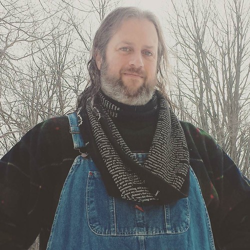 "Rocking the ""Poe's 'The Raven'"" infinity scarf today. #ootd #scarf #infinityscarf #poe #overalls #Dickies #fleece"