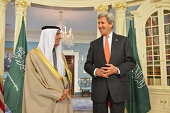 U.S. Secretary of State John Kerry meets with Saudi Foreign Minister Adel al-Jubeir, at the U.S. Department of State in Washington, D.C. on February 8, 2015. [State Department Photo/Public Domain]