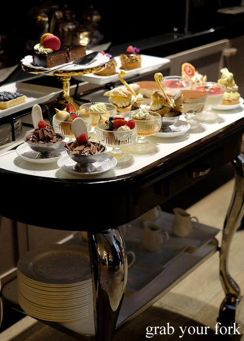 Dessert trolley at The Mayflower Hotel Restaurant, Adelaide