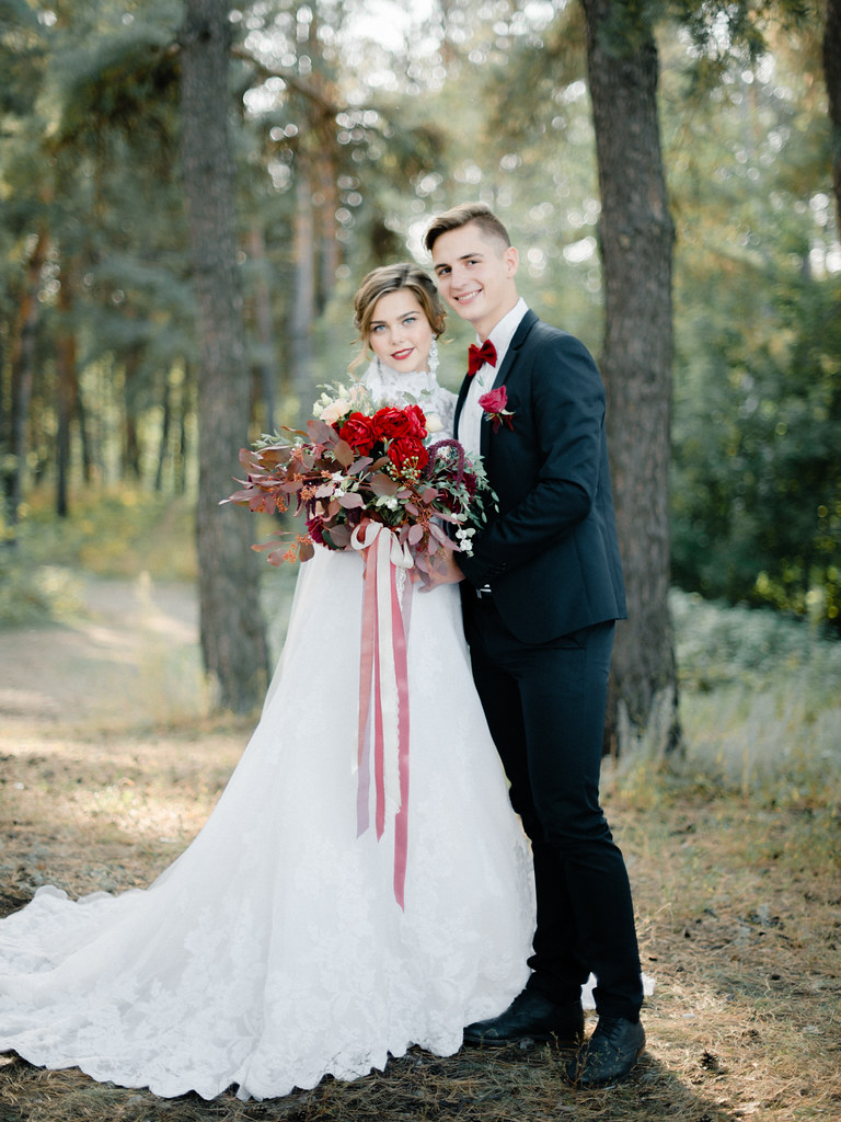 Enchanted Forest Marsala Wedding & High neck wedding dress
