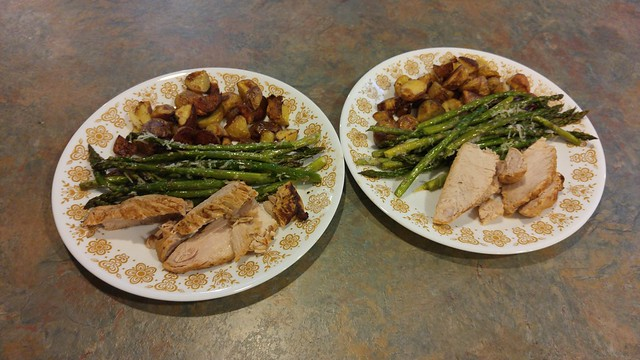 BBQ turkey tenderloin I cooked in my homemade vegetable stock in the pressure cooker, roasted asparagus, and roasted little potatoes.