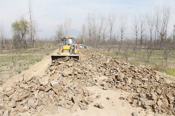 Construction work on Pulwama Circular Road in progress. —Excelsior/Younis Khaliq