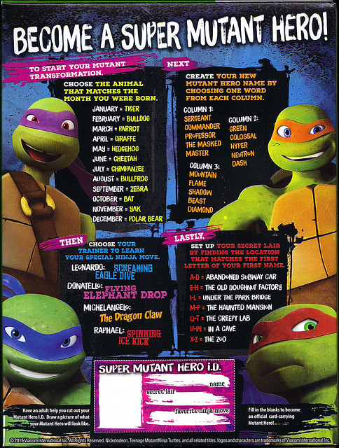 "General Mills :: Nickelodeon ""TEENAGE MUTANT NINJA TURTLES"" CEREAL ii (( 2016 ))"