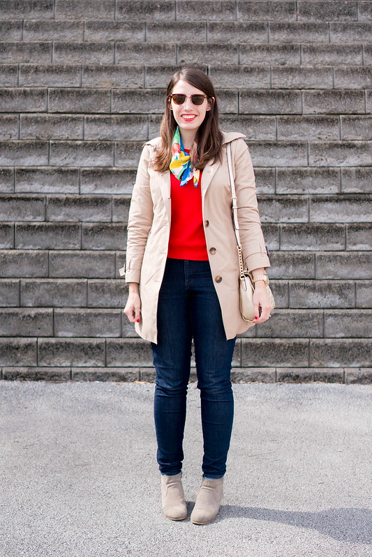 red sweater + floral silk scarf at Target + trench coat + jeans + ankle boots, spring casual look | Style On Target