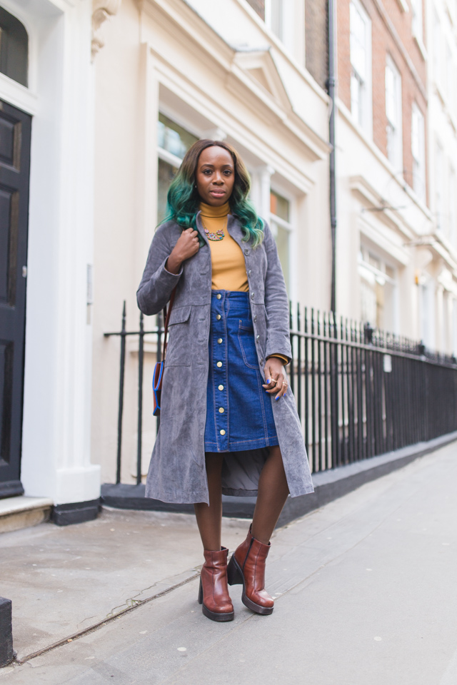 how to wear a suede coat