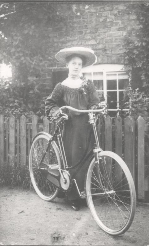 Emmy Souter of South Cave with bicycle c.1900s (archive ref DDEY-1-180)