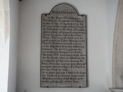 St. Nicholas, Cuddington, Benefactions