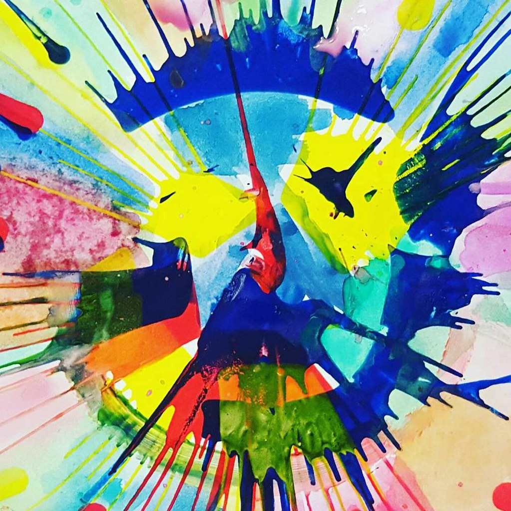 "I have so many of these cool #spinart pictures on my phone. This is my all-time favorite, and it was made by a 4-year-old! It started as a regular spin art, and then she decided to paint the blank spots with her own watercolors to really highlight ""the fa"