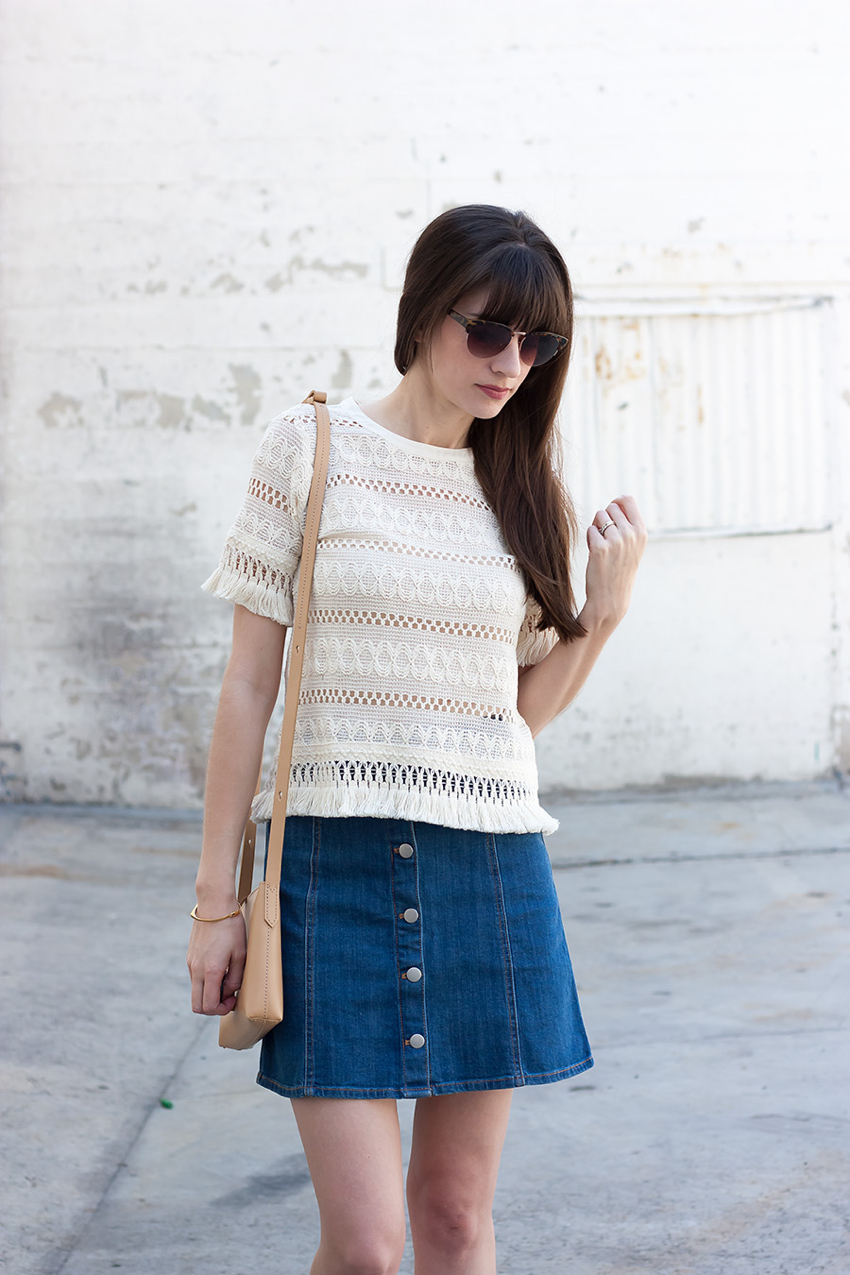 Fringe Top, Button Front Skirt