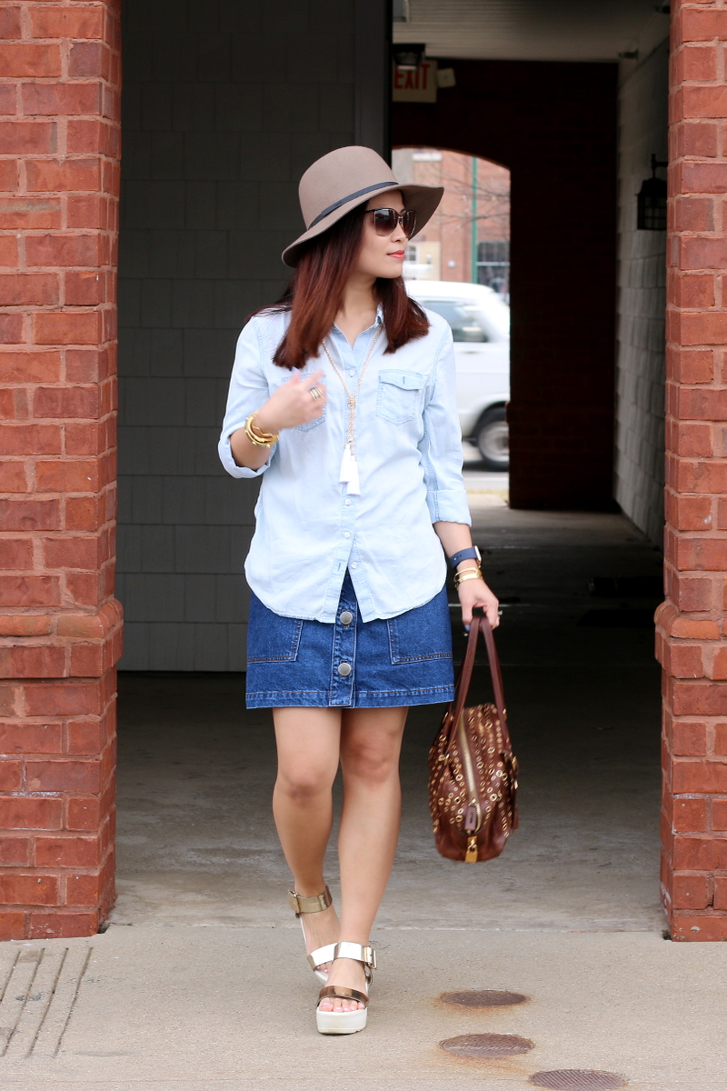 denim on denim, Chambray button down shirt, denim skirt, platform sandals, prada bag