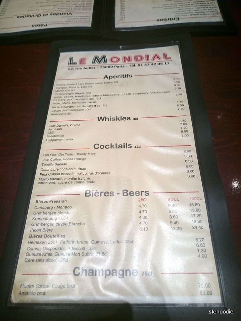 drink menu at Le Mondial