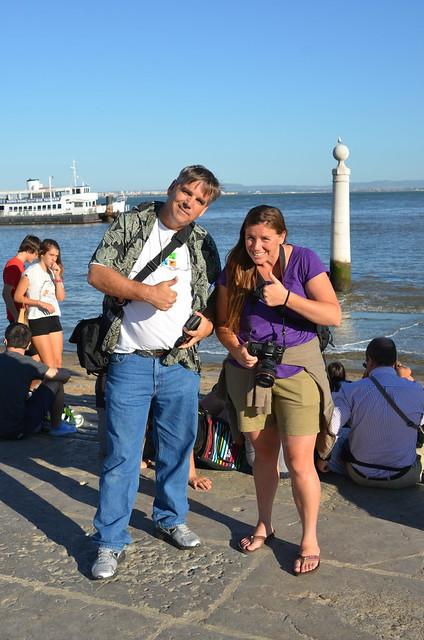 Lynn and Annie at Cais das Colunas